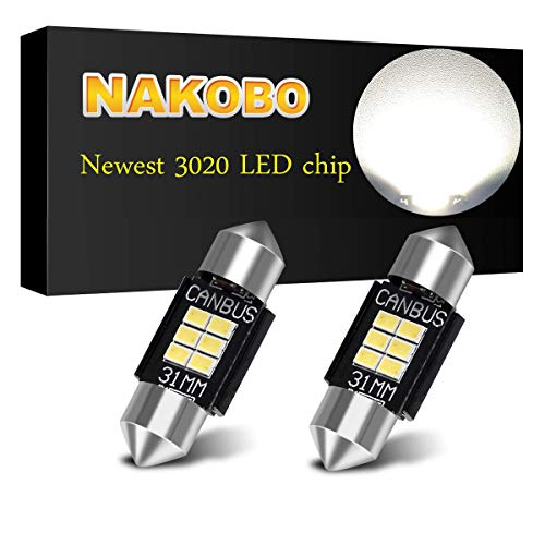 "NAKOBO PHILIPS 3020 Chipset Canbus Error Free LED Bulbs for Interior Car Lights License Plate Dome Map Door Courtesy 1.25"" 31MM Festoon DE3175 6428 Xenon White"