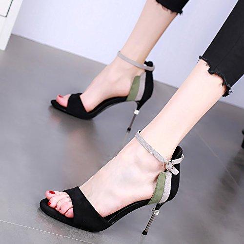 nero sandali strass toe YMFIE EU Le vanno 36 alti colore la open sexy temperamento bene moda elegante estate donne coordinati tacchi con w71qwxvA