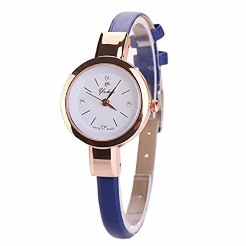 Ikevan Fashion Women Lady Round Quartz Analog Bracelet Wristwatch Watch Gift (D)