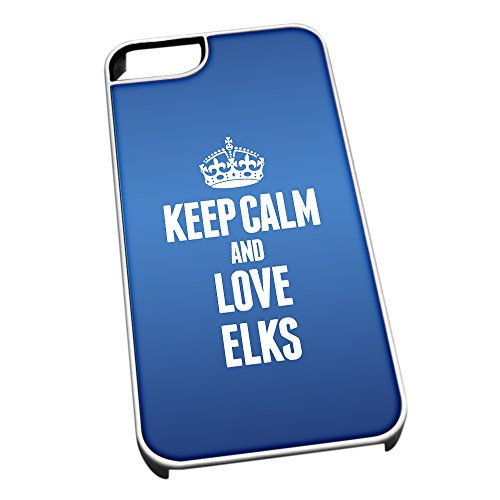 Bianco cover per iPhone 5/5S, blu 2425Keep Calm and Love Elks
