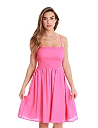 Riviera Sun Solid Short Dress with Smocking