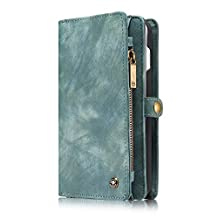 """iPhone Xs Max Flip Wallet Case,Bchance Handmade Premium Pu Leather Wallet Case Zipper Purse Case [Magnetic Closure] Detachable Magnetic Case with Card Holder for iPhone Xs Max 6.5"""" 2018 - Green"""