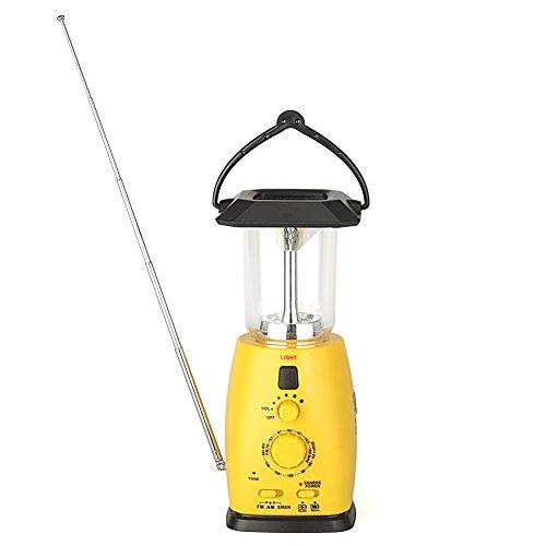 Hoshine Multi-functional Solar Powered Hand Crank Dynamo Emergency LED Camping Lantern Flashlight with AM/FM Radio Support AA battery Cell Phone Charger Dynamo Led Radio
