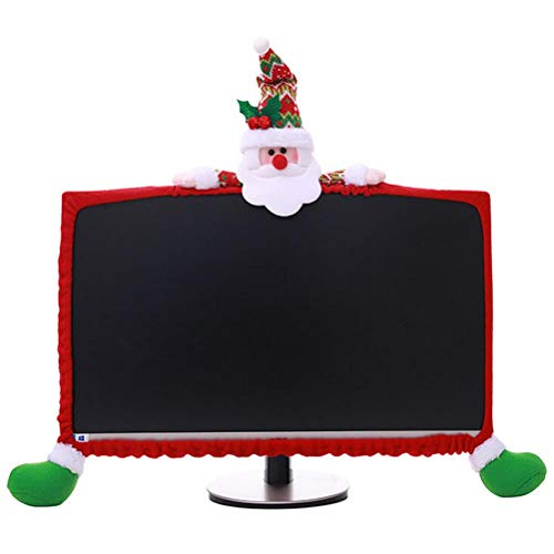 Christmas Computer Monitor Cover, Elastic Xmas Decorations Santa Claus Computer Laptop Monitor Border Cover for Home Office Decor Year Gift Ideas ()