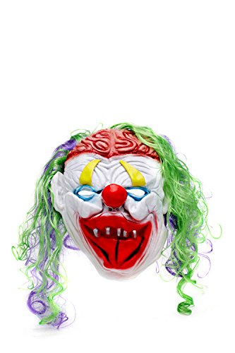 Twisty The Clown Girl Costume (Scary Clown Halloween Mask With Wig Unisex Overhead Terrible Face Masks Facemask (Purple, scarlet red))