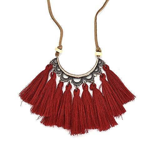 - Swyss Tassel Necklace Silk Fabric Boho Ethnic Style Pendant Leather Rope Chain for Women Creative Fashion Gift