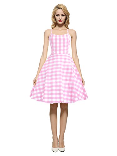 Maggie Tang Women's 1950s 60s Vintage Rockabilly Casual Party Dress Pink 2XL