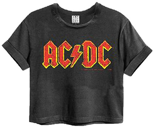 Amplified AC/DC Logo Womens Cropped T-Shirt (Small) Charcoal - Crop Logo