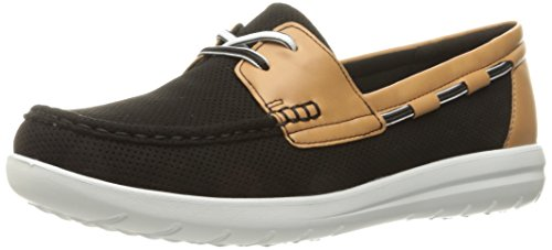 Clarks Women's Jocolin Vista Boat Shoe, Black Perforated Textile, 5 B(M) US (Clark Kids Shoes)