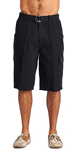 Black Mens Shorts - One Tough Brand Men's Cotton Twill Belted Cargo Shorts (32, Black)