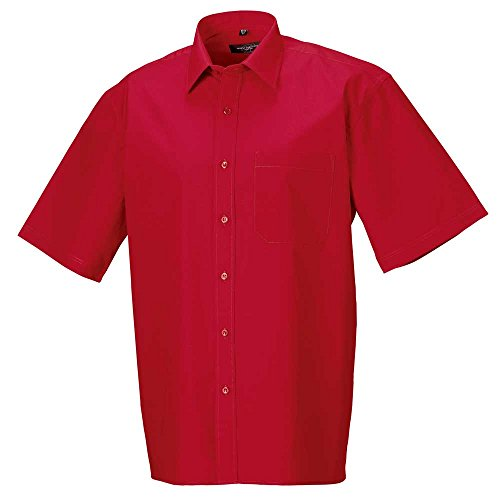 Russell Collection Mens Short sleeve 100% Cotton Poplin Shirt Classic Red