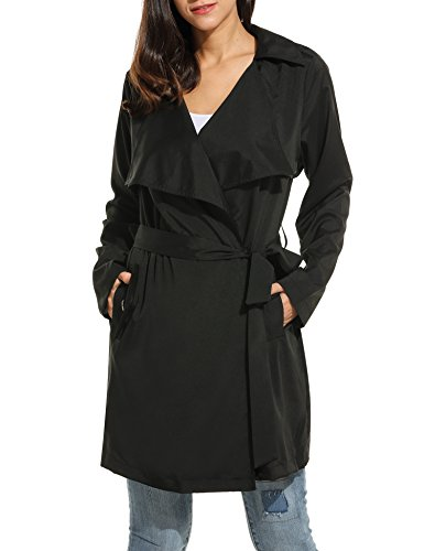 Lightweight Trench Coat Belted - ACEVOG Women Duster Casual Wrap Belted Long Sleeve Lightweight Winter Coat