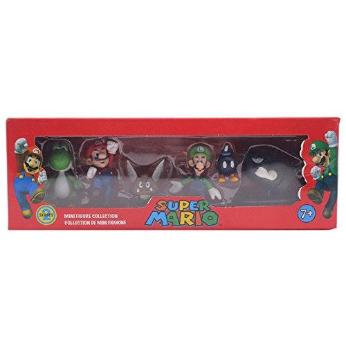 NEW 6pcs/set Bros Yoshi Mushroom Luigi PVC Action Figure Toy Boxed