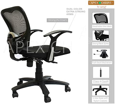 APEX Chairs Delta MB Chair Umbrella Base Office Chair (Standard, Black)