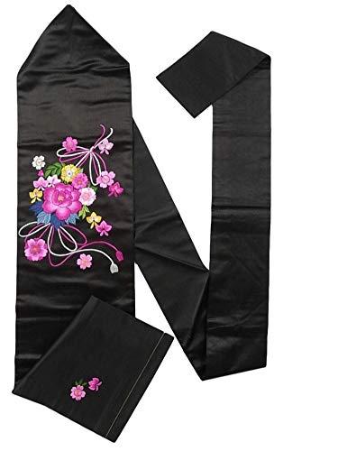 コモランマ気難しい姿を消すアンティーク 名古屋帯 繻子 刺繍 花薬玉文 正絹