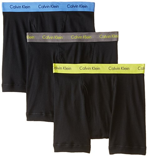Calvin Klein Men's 3 Pack Cotton Classics Boxer Brief, Black/Grey Sky/Winter Chartreuse/Ultramarine, Medium
