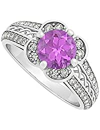 February Birthstone Amethyst with Cubic Zirconia Criss Cross Fancy Fashion Ring Sterling Silver