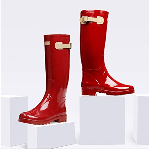 Zcx Boots Rain Red Ladies Adult Printed Rubber Boots Outdoor Wear Motorcycle rFrzS6Ox
