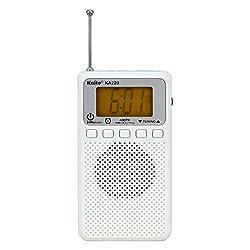 Kaito KA220W Pocket Digital AM/FM Radio with Alarm Clock & Sleep Timer, White