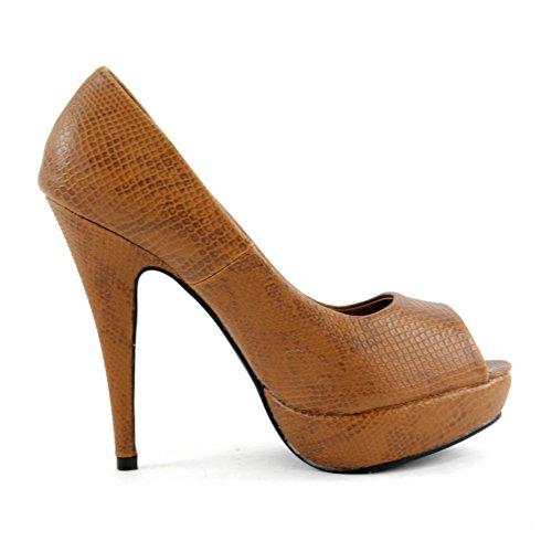 High Heels Pumps Damenschuhe Stiletto Plateau Schuhe Schlangenleder Optik Z4826-P, Präzise Farbe:Camel;Schuhgröße:EUR 38