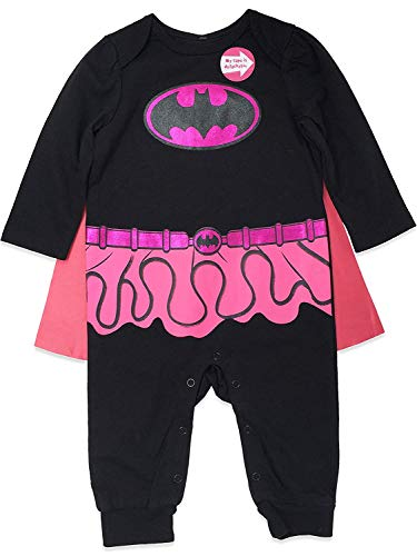 Pink Supergirl Infant Halloween Costume (Warner Bros Batgirl Baby Girls Costume Coverall with Cape, Black/Pink 0-3)