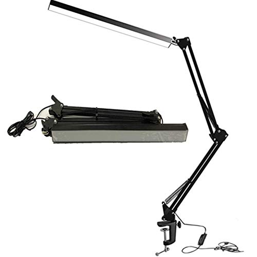 LED Architect Desk Lamp, BZBRLZ Metal Swing Arm Lamp, Infinite Brightness Adjustable, Eye-Caring Dimmable Table Lamp, 3 Color Modes, One-Button Operation, Memory -