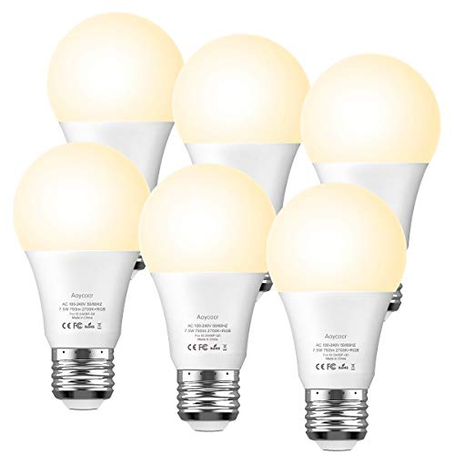Smart Light Bulb Dimmable Soft White 2700K RGBW - Aoycocr A19 E26 Color Changing Lights Bulb Work with Alexa Google Home IFTTT for Smart Home, No Hub Required, 750 Lumens, 7.5 (65W Equivalent), 6 Pack