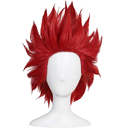 Red Spikey Wig (ColorGround Short Red Anime Cosplay)