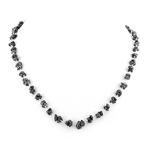 skyjewels 28 inches Certified 3mm-4mm Rough Black Diamond Beads Chain Necklace in Silver