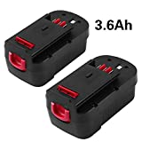 [Upgraded to 3600mAh] HPB18 3.6Ah Replace for Black and Decker 18 Volt Battery  Ni-Mh 244760-00 A1718 FS18FL FSB18 Firestorm Cordless Power Tools 2 Packs