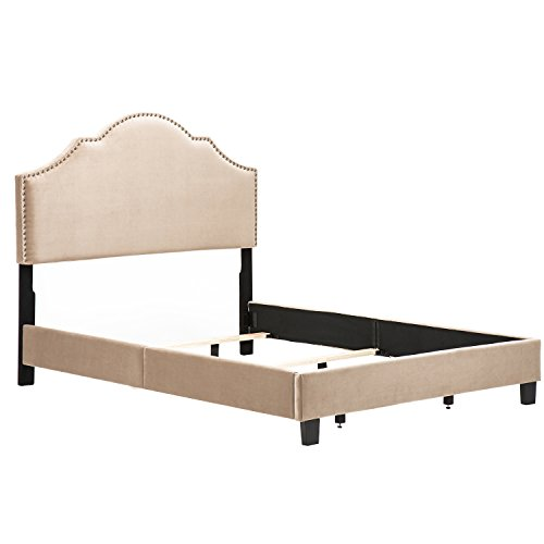 Andeworld Modern Design Height Adjustable Queen Size Upholstered Nailhead Bed Bed Frame Taupe