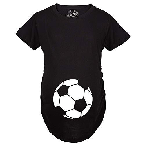 Maternity Soccer Ball Pregnancy Tshirt Cute Soccer Mom Sports Tee for Mom to Be (Black) - L
