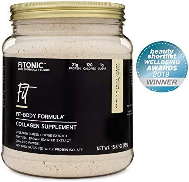 FiTONIC Fit Vanilla and Lucuma Collagen Protein Powder Best Tasting Whey Protein Powder For Women Gluten, Soy, and RBST-Free Post Workout Shake Paleo Recovery Formula Packed with Superfoods