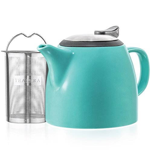 - Tealyra - Drago Ceramic Small Teapot Turquoise - 22oz (2-3 cups) - With Stainless Steel Lid and Extra-Fine Infuser for Loose Leaf Tea - Lead-free - 650ml