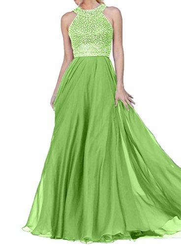 Damen Festlichkleider Charmant Chiffon Promkleider Partykleider Langes Abendkleider Grün mit Steine dYwgCY