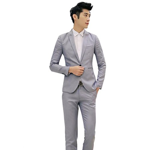 Man Suit Adult Skinny (AOJIAN 2017 Business and Leisure Suit A Two-piece Suit (M,)