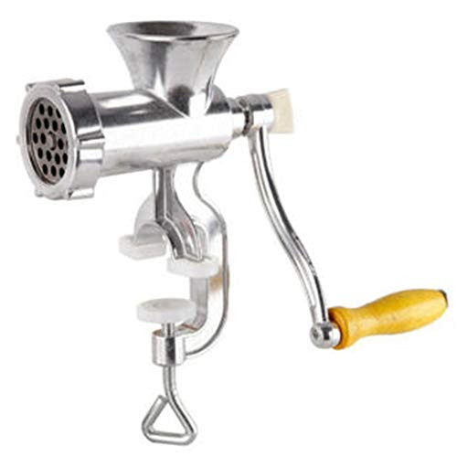 YANEE Manual Meat grinder multi function, Meat Grinder Mincer Sausage Filler Chopper Pasta Maker, Table clamp, Home kitchen tool, Material: Aluminum & Cast Iron Overall size: 7.48'' x 5.11'' x 2.75''
