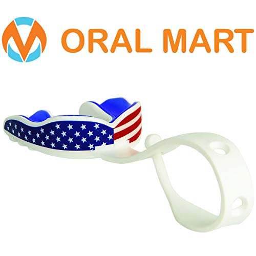 Oral Mart (Black/Red Sports Mouth Guard with Strap (Ice Hockey/Football/Lacrosse) - Cushion Strapped Mouthguard for Football, Hockey, Lacrosse, College Football (with Free Case)