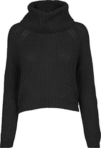 Urban Classics Ladies Short Turtleneck Sweater, Jersey Cuello Vuelto para Mujer Negro (Black 7)