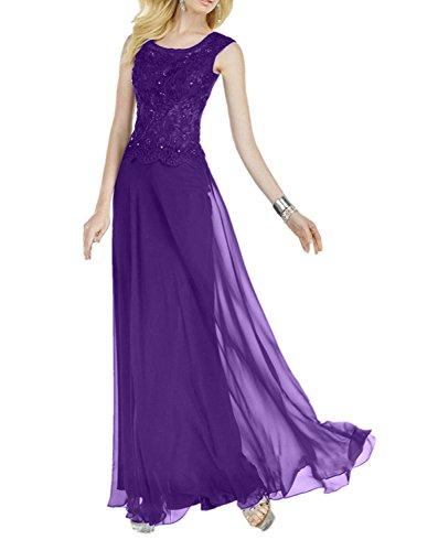 Brautmutterkleider Brautmutterkleider mia Festlichkleider La Braut Rock Lila Chiffon Lang Spitze Hundkragen Abendkleider X46X1xnwZq
