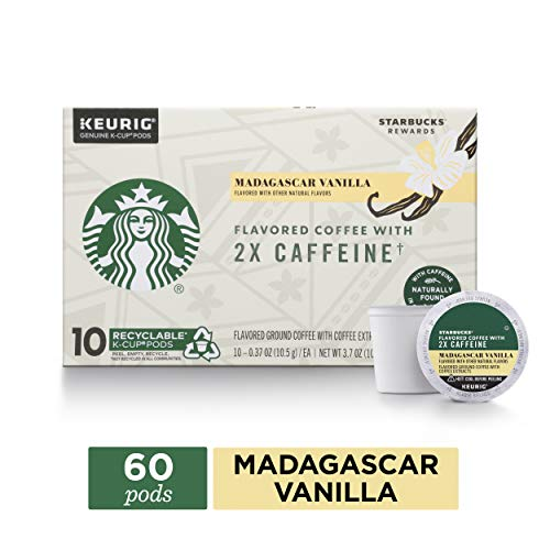 Starbucks Madagascar Vanilla Flavored Coffee K-Cups with 2X Caffeine | for Keurig Brewers | 6 Boxes of 10 (60 Total K-Cup Pods)