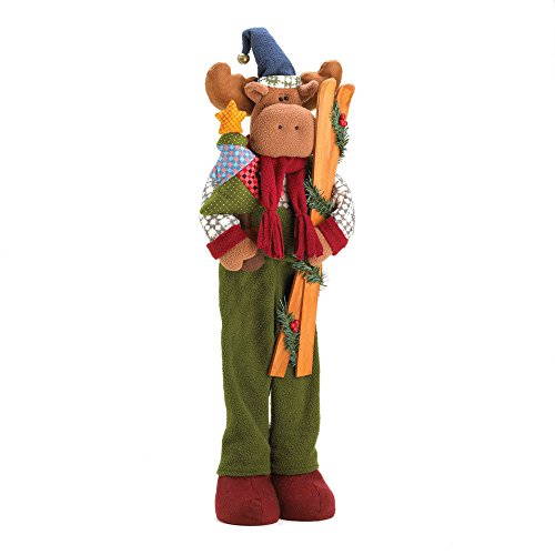 GHP Polyresin/Wood 9'' x 5¼'' x 28½''H Plush Moose in Holiday Active Wear Decor by Globe House Products