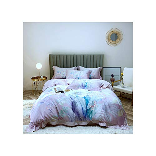 Slowly Mist 100% Bamboo Fiber Satin Duvet Cover Set European Style Bedding Silk Feeling Floral Cartoon Smooth Soft King Queen Size Bed Linen,Color 10,King - European 2010 Set Style