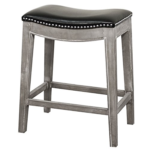New Pacific Direct 198625B-23 Elmo Bonded Leather Counter Stool Furniture Black