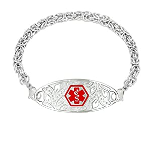 Divoti Custom Engraved 316L Lovely Filigree Medical Alert Bracelet for Women w/Stainless Handmade Byzantine Chain -Deep Blue