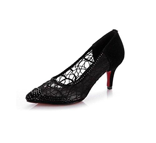 Zapatos de Las Bomba Fiesta Punta de HIGHXE Vestido de Negro del de la Alto Fina Estilete Baja Dedo tacón 36 Red de Boca Zapatos pie Mujeres BLACK de la Hilo 38 Zapatos BqdqgTa
