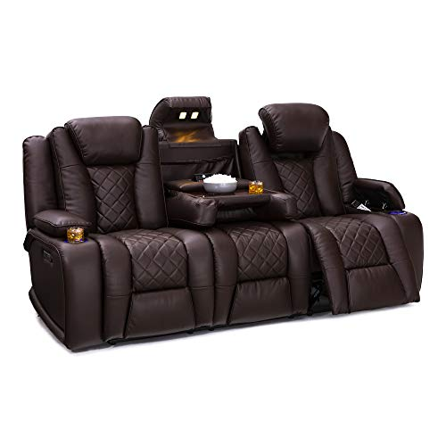 Seatcraft Europa Home Theater Seating Power Recline Leather Gel Sofa Adjustable Powered Headrests, Cup Holders, Power Charging Station, Hidden in-Arm Storage (Sofa, Brown)
