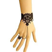 1pc Black Sexy Lace Bracelet European American Classic DIY Fashion Bracelet Ring Set