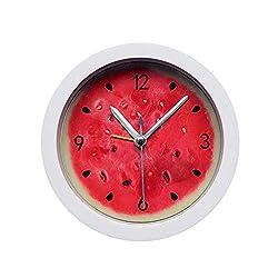 OMLTER Mini Round Alarm Clock, Watermelon Pattern Alarm, No Ticking, Awake Alarm Clock, Battery Powered