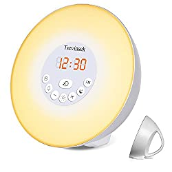 Tsevinsek Digital Alarm Clock with Wake Up Light, Sunrise/Sunset Simulation, Nature Sound, FM Radio, Color Changing Night Light, LED Display Bedroom Alarm Clock for Kids, Heavy Sleepers
